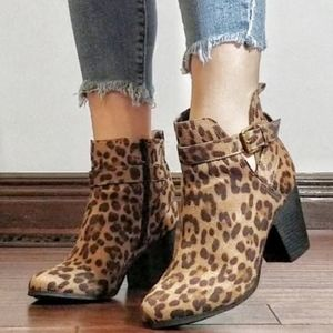 Time and Tru Leopard Ankle Strap Bootie